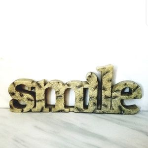 SMILE Word Decor Wall or Shelf Plaque